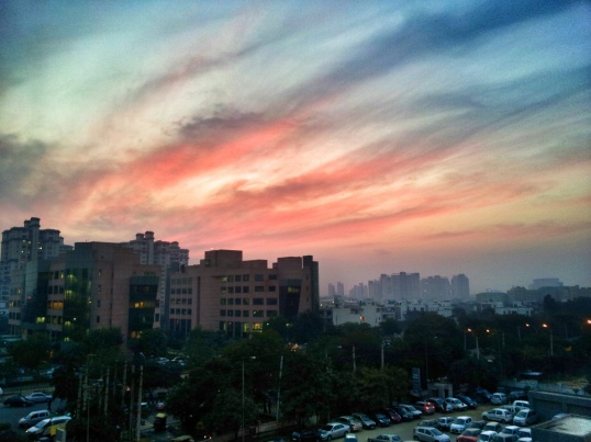 Evening Sun and Clouds, Huda Metro Station, Gurgaon