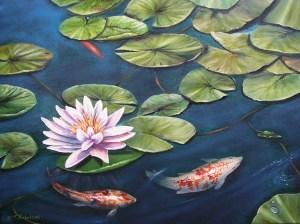 Koi Pond with Lotus